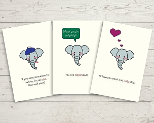 Printable Elephant Card Set