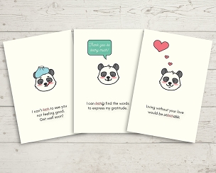 Printable Panda Bear Card Set