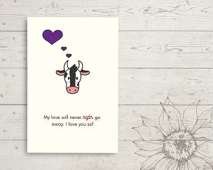 Printable Cow Love You Card