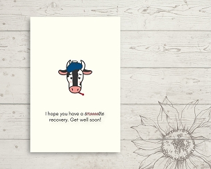 Printable Cow Get Well Card