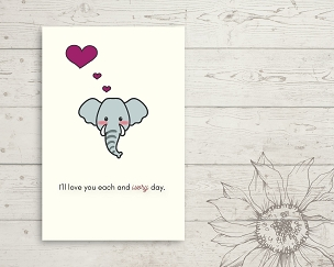 Printable Elephant Love You Card