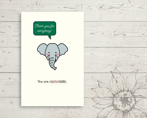 Printable Elephant Thank You Card