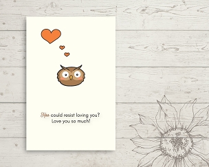Printable Owl Love You Card