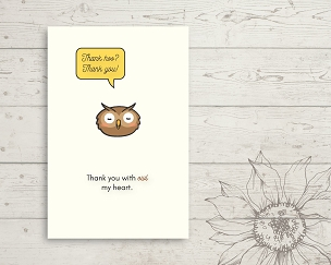 Printable Owl Thank You Card