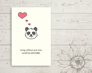 Printable Panda Bear Love You Card