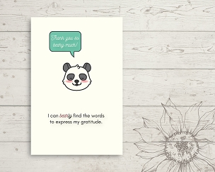 Printable Panda Bear Thank You Card