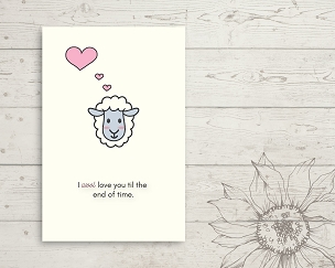 Printable Sheep Love You Card